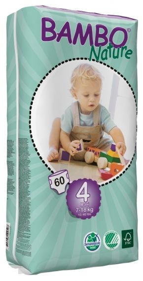 Eко пелени Bambo Nature Maxi Tall Pack, размер 4, 7-18 кг., 60 броя