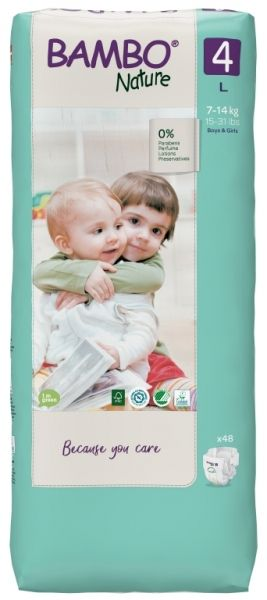 Еко пелени за еднократна употреба  Bambo Nature, Tall pack, размер 4, L, 7-14кг., 48 броя