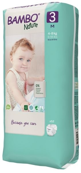 Еко пелени за еднократна употреба  Bambo Nature, Tall pack, размер 3, M, 4-8кг., 52 броя
